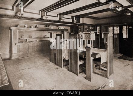 Frank Lloyd Wright entworfen individuelle Möbel für seine Bauten als dieser Ess-Set für das Robie House. 1910. - Stockfoto