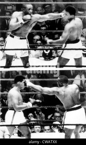 Die ersten Sonny Liston und Cassius Clay (Muhammad Ali) kämpfen in Miami, 1964. Höflichkeit: CSU Archive / Everett - Stockfoto