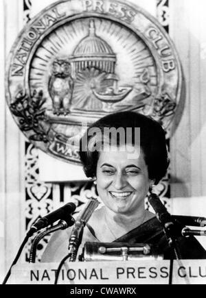 Der indische Premierminister Indira Ghandi wie sie bei einem Mittagessen treffen der National Press Club, 29. März - Stockfoto