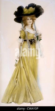 Frau im viktorianischen Kleid und großen Hut, ca. 1889. Illustration von Leon Moran. Foto: Courtesy Everett Collection - Stockfoto