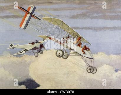 Ersten Weltkrieg Luftschlacht mit deutschen Fokker Eindecker angreifenden französischen Voisin Doppeldecker, Künstler - Stockfoto