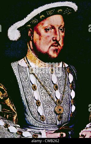 König Henry VIII (1491-1547), König von England und Irland von 1509 bis zu seinem Tod. Porträt von Hans Holbein - Stockfoto