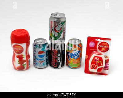 Kalorienarme Getränke und künstlichen Süßstoff Stockfoto, Bild ...