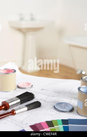 Dekoration, Werkzeuge und Materialien - Stockfoto