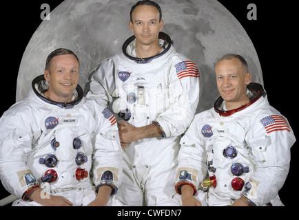 Porträt der erstklassige Besatzung der Apollo 11 Mondlandung Mission. Sie sind von links nach rechts: Commander, - Stockfoto