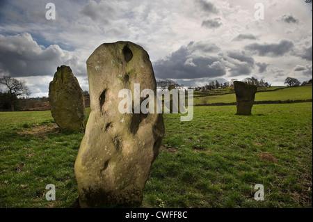 Neun Steinen enge Bronzezeit Steinkreis in der Nähe von Stanton Moor, Derbyshire, UK - Stockfoto