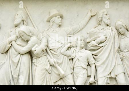 Vereinigte Staaten von Amerika, USA, Neuengland, Massachusetts, Plymouth, Nationaldenkmal, die Vorfahren, carving - Stockfoto