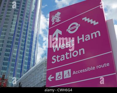 Zugängliche Einträge für die Paralympischen Spiele 2012 in London und Umgebung - Stockfoto