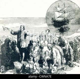 Die Pilgerväter landen in Plymouth und danken. In den Einschub-Kreis ist das Schiff, auf dem sie segelten – Mayflower. - Stockfoto