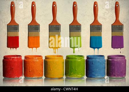 Grunge-Poster mit Pinsel tropft Farbe in verschiedenen Farben in Containern - Stockfoto