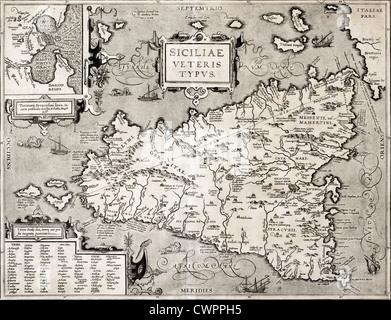 Antike Landkarte von Syrakus, Sizilien Stockfoto, Bild ...