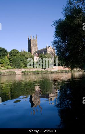 Worcester Kathedrale spiegelt sich im Fluss Severn, gesehen vom Kapitel Wiesen - Stockfoto