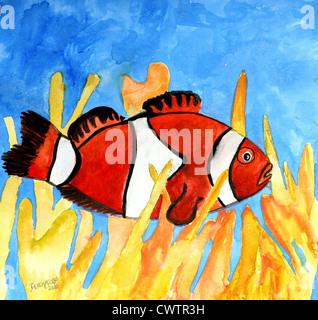 Clownfische rote und weiße Aquarell Quadrat malen niedlich für Babys Zimmer - Stockfoto