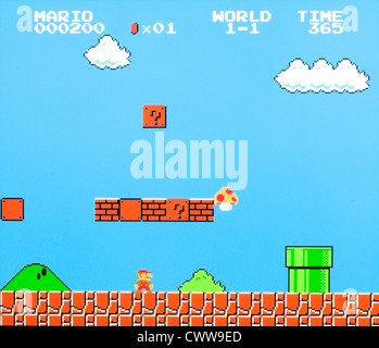 Super Mario Bros Videospiel - Welt 1 Stufe 1 - Stockfoto