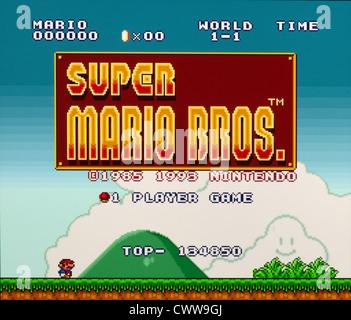 Video-Spiele - Super Mario Bros Titelbildschirm - Stockfoto