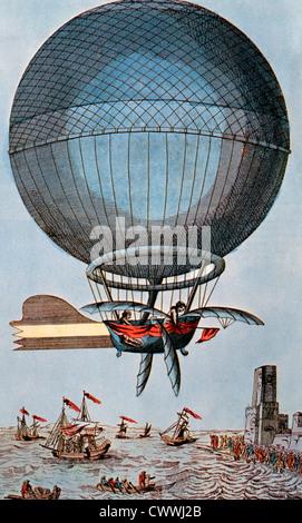 Blanchard und Jeffries überqueren den Ärmelkanal mit einem Ballon, 1785, Illustration - Stockfoto