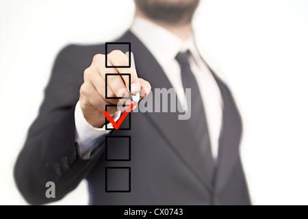 Unternehmer die Wahl auf 5-Box mit dem V-Zeichen - Stockfoto
