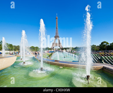Pariser Skyline Eiffelturm mit trocadero-brunnen Frankreich EU Europa - Stockfoto