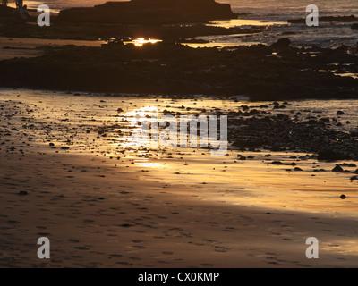 Strand in Maspalomas Gran Canaria. Am frühen Morgensonnenlicht geben dem Sand einen goldenen Schimmer - Stockfoto
