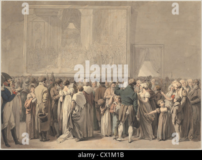 "Louis-Léopold Boilly, The Public im Salon des Louvre, das Gemälde des ""Sacre"", Französisch, 1761-1845, 1805 begonnen - Stockfoto"