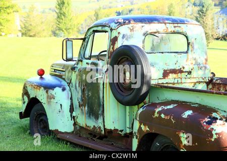 Ein klassischer Ford Pickup sitzt in einem Feld. - Stockfoto
