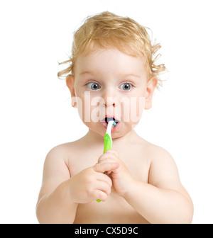 Kind, Zähneputzen, isoliert auf weiss - Stockfoto