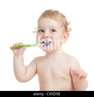 Glückliches Kind Zähneputzen isoliert auf weiss - Stockfoto