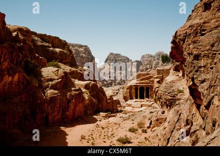 Der Blick auf Petras Garten Tal in Jordanien - Stockfoto
