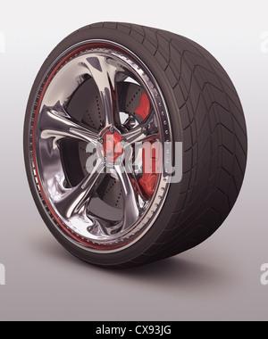 Verchromten Rad mit roten Details. Exklusives Design, gut zu ohne Bezug der Marke verwenden. - Stockfoto