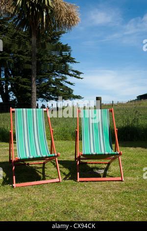 Zwei leere, gestreifte Liegestühle im Garten. - Stockfoto