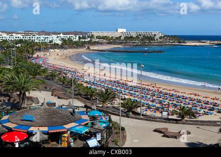 Playa de Las Cucharas, Costa Teguise, Lanzarote, Kanarische Inseln, Spanien, Atlantik, Europa - Stockfoto