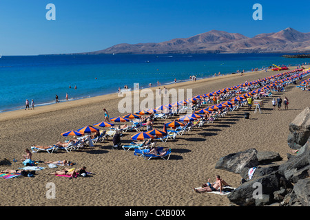 Playa Grande, Puerto del Carmen, Lanzarote, Kanarische Inseln, Spanien, Atlantik, Europa - Stockfoto