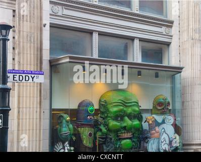 Kunstwerk in Schaufenstern in Providence, Rhode Island - Stockfoto