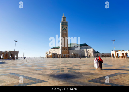 Hassan II Moschee, die drittgrößte Moschee der Welt, Casablanca, Marokko, Nordafrika, Afrika - Stockfoto