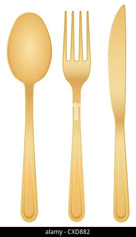 Goldene Löffel, Gabel und Messer auf einem weißen Hintergrund. - Stockfoto