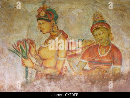 Sigiriya Jungfrauen oder Cloud Jungfrauen, Fresken 5. Jahrhundert n. Chr., Felsenfestung Sigiriya Löwe, Sigiriya, - Stockfoto