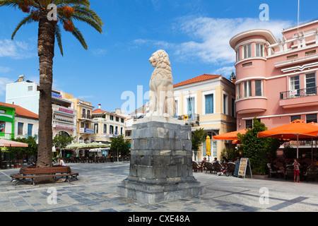 Lion Square, Samos Stadt Samos, Ägäische Inseln, Griechenland - Stockfoto