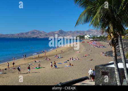 Playa Grande, Puerto del Carmen, Lanzarote, Kanarische Inseln, Spanien - Stockfoto