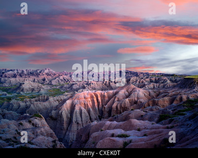 Bunte Formationen in Badlands Nationalpark, South Dakota - Stockfoto