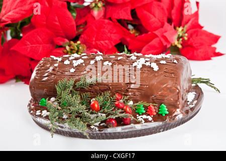 Hausgemachte Schokolade Yule Bûche mit Weihnachtsstern und andere saisonale Dekorationen. - Stockfoto