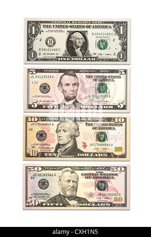 vier verschiedene Dollar Bills, US-Dollar, Front, isoliert auf 100 % weiß - Stockfoto