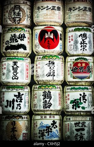 Gespendete Barrel Willen an der Meiji-Schrein, Tokyo, Japan - Stockfoto
