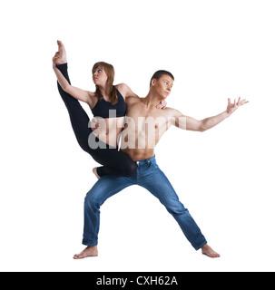Zwei junge Turnerin Show Übung isoliert - Stockfoto