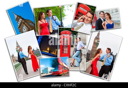 Romantisches Paar für Mann und Frau im Urlaub die Sehenswürdigkeiten und Sehenswürdigkeiten in London, England, - Stockfoto