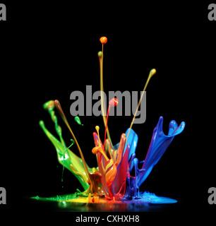 Bunte Farbe Spritzen - Stockfoto