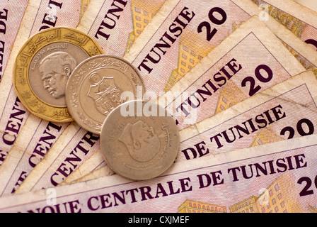 Tunesische Währung Dinar Banknoten Und Münzen Stockfoto Bild