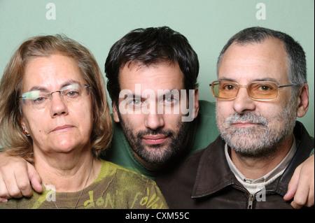 Familienbild mit mittleren Alters Eltern und Sohn - Stockfoto