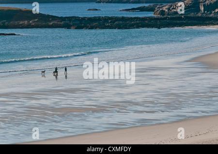Ein paar mit ihren Hunden zu Fuß am Strand in Nord-Schottland Sutherland - Stockfoto