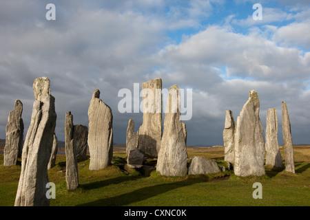 Die Callanish Stones, hebt Chalanais oder Tursachan Chalanais auf Isle of Lewis, Schottland. - Stockfoto
