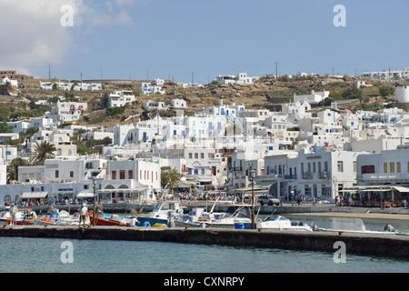 Blick, Chora, Mykonos, Cyclades, Süd Ägäis, Griechenland - Stockfoto